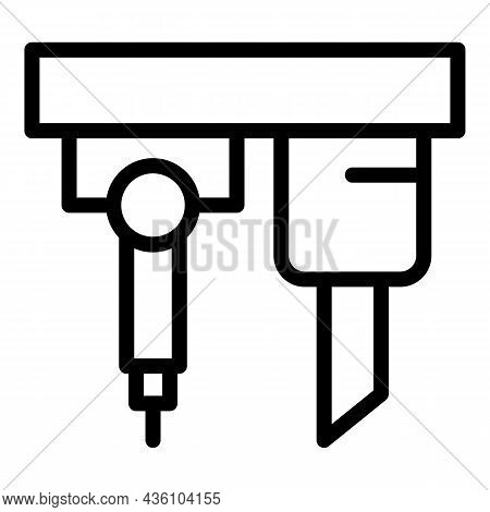 Construction Cnc Machine Icon Outline Vector. Lathe Equipment. Factory Machinery