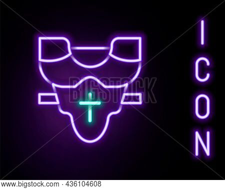 Glowing Neon Line American Football Player Chest Protector Icon Isolated On Black Background. Should