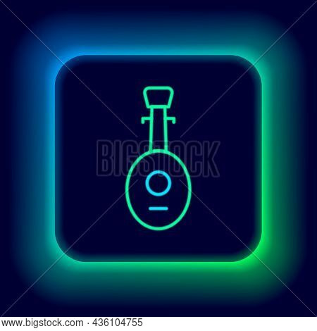 Glowing Neon Line Musical Instrument Lute Icon Isolated On Black Background. Arabic, Oriental, Greek