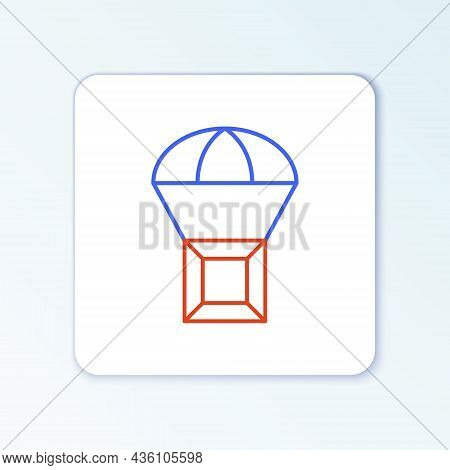 Line Box Flying On Parachute Icon Isolated On White Background. Parcel With Parachute For Shipping.