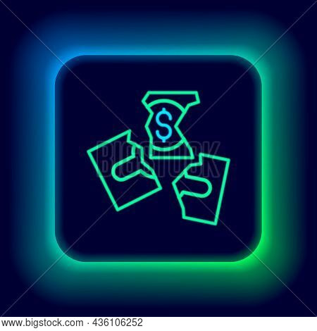 Glowing Neon Line Tearing Apart Money Banknote Into Three Peaces Icon Isolated On Black Background.