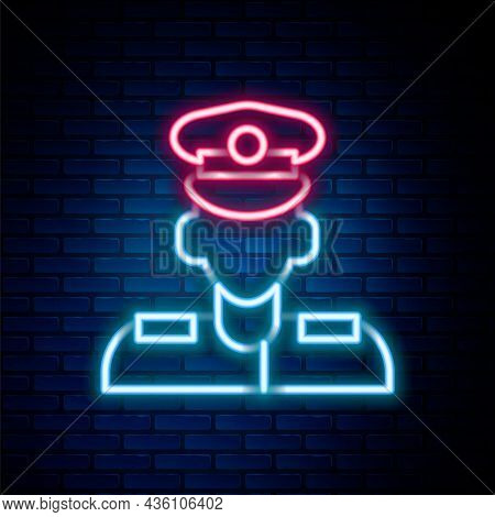 Glowing Neon Line Pilot Icon Isolated On Brick Wall Background. Colorful Outline Concept. Vector