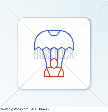 Line Parachute Icon Isolated On White Background. Colorful Outline Concept. Vector