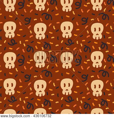 A Pattern With A Skull In A Circle Of Confetti And Streamers For Halloween. A Doodle Pattern Of A Ho