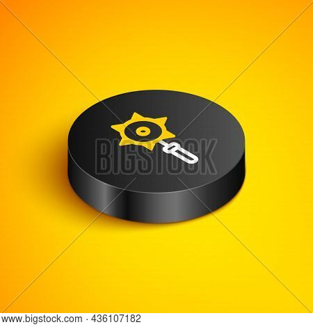 Isometric Line Medieval Chained Mace Ball Icon Isolated On Yellow Background. Medieval Weapon. Black