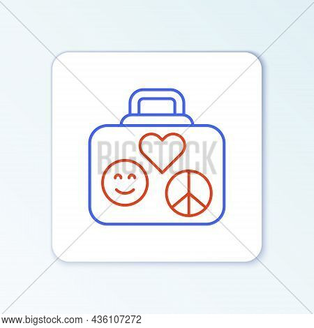 Line Suitcase For Travel Icon Isolated On White Background. Traveling Baggage Sign. Retro Hippie Sty