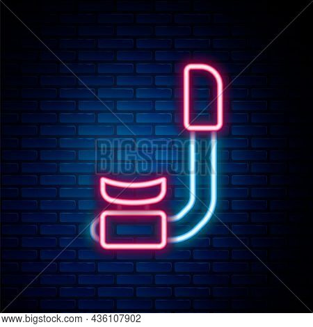 Glowing Neon Line Snorkel Icon Isolated On Brick Wall Background. Diving Underwater Equipment. Color