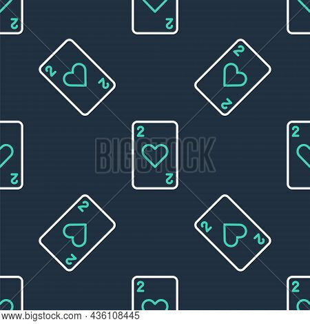 Line Playing Card With Heart Symbol Icon Isolated Seamless Pattern On Black Background. Casino Gambl