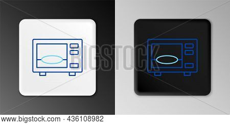 Line Microwave Oven Icon Isolated On Grey Background. Home Appliances Icon. Colorful Outline Concept