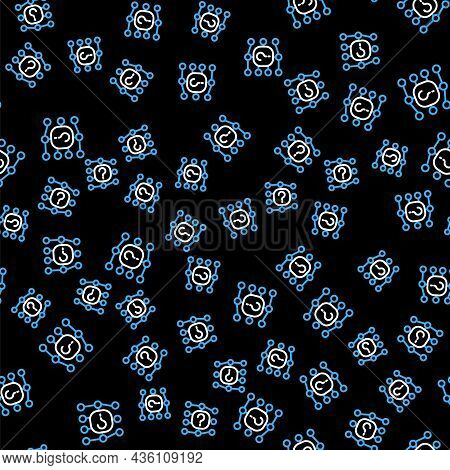 Line Neural Network Icon Isolated Seamless Pattern On Black Background. Artificial Intelligence Ai.