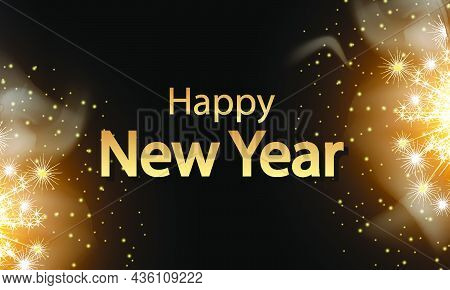 Happy New Year On Dark Background With Sparklers, Vector Art Illustration.
