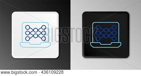Line Neural Network Icon Isolated On Grey Background. Artificial Intelligence Ai. Colorful Outline C