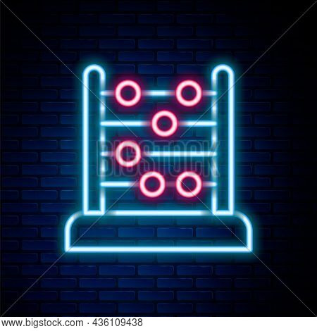 Glowing Neon Line Abacus Icon Isolated On Brick Wall Background. Traditional Counting Frame. Educati