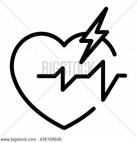 Heart Rate Icon Outline Vector. Pulse Beat. Cardiac Heartbeat