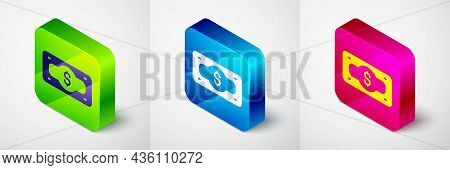 Isometric Stacks Paper Money Cash Icon Isolated On Grey Background. Money Banknotes Stacks. Bill Cur