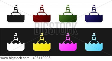 Set Floating Buoy On The Sea Icon Isolated On Black And White Background. Vector