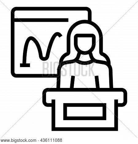 Business Speaker Icon Outline Vector. Seminar Presentation. Lecture Training