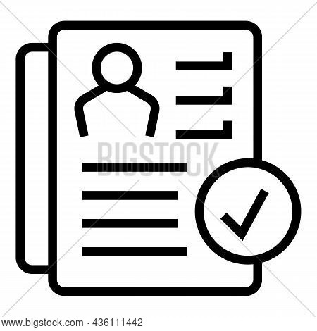 Cv Paper Icon Outline Vector. Job Template. Resume Curriculum