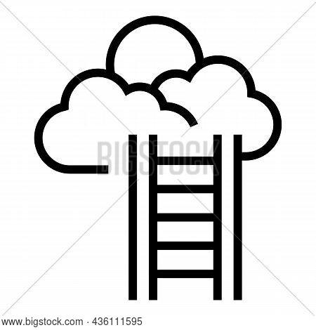 Sky Ladder Icon Outline Vector. Heaven Goal. Cloud Career