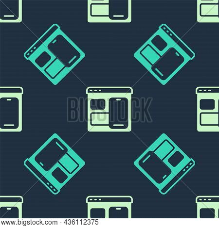 Green And Beige Software, Web Developer Programming Code Icon Isolated Seamless Pattern On Blue Back
