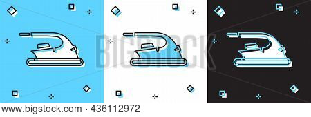 Set Electric Iron Icon Isolated On Blue And White, Black Background. Steam Iron. Vector