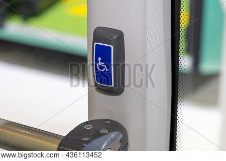 Drivers Signal Button Supplemented With Braille On The City Bus. Infrastructure For The Visually Imp