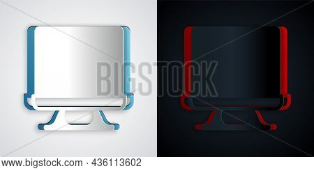 Paper Cut Smart Tv Icon Isolated On Grey And Black Background. Television Sign. Paper Art Style. Vec