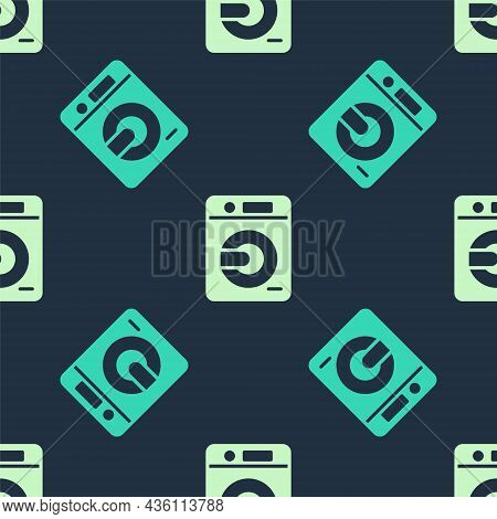 Green And Beige Washer Icon Isolated Seamless Pattern On Blue Background. Washing Machine Icon. Clot