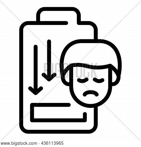 Low Man Energy Icon Outline Vector. Panic Attack. Mental Disorder