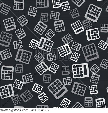 Grey Calculator Icon Isolated Seamless Pattern On Black Background. Accounting Symbol. Business Calc