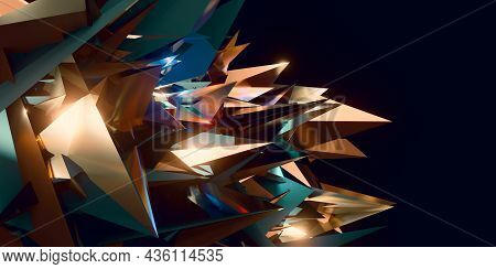 Flak Background Broken Glass Modern Technology Abstract Futuristic 3d Illustration