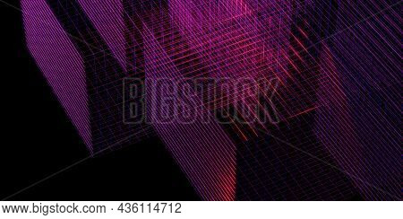 Laser Grid Purple Glow Red And Blue 3d Illustration