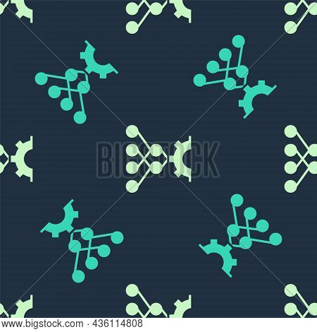 Green And Beige Neural Network Icon Isolated Seamless Pattern On Blue Background. Artificial Intelli