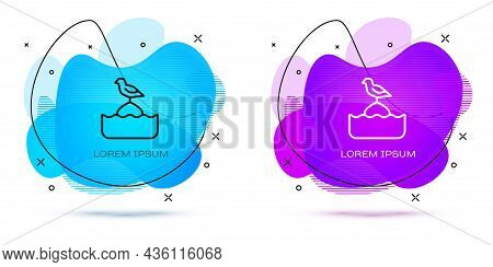 Line Seagull Sits On A Buoy In The Sea Icon Isolated On White Background. Abstract Banner With Liqui