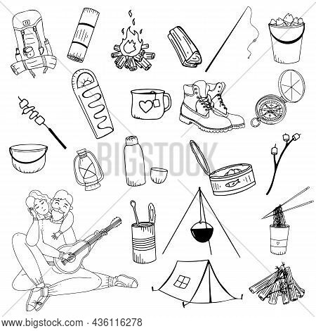 Doodle Icons On Camping And Travel, Camping Doodle Icons