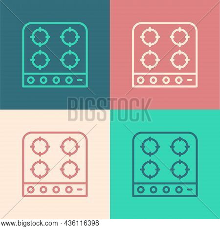 Pop Art Line Gas Stove Icon Isolated On Color Background. Cooktop Sign. Hob With Four Circle Burners