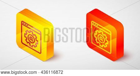 Isometric Line Browser Setting Icon Isolated On Grey Background. Adjusting, Service, Maintenance, Re