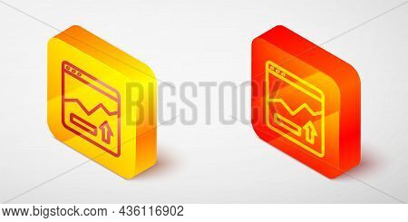 Isometric Line Financial Growth Increase Icon Isolated On Grey Background. Increasing Revenue. Yello