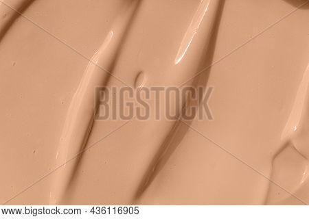 Beige Nude Liquid Foundation Smear, Concealer Texture Smudge. Make Up Base Drops, Cream Textured Bac