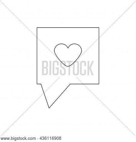 Rectangle Speech Dialogue. Black Heart Silhouette. Communication Concept. Message Sign. Vector Illus