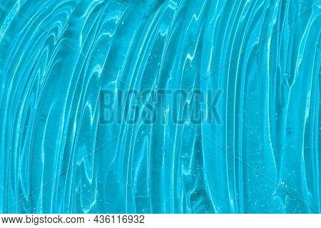 .blue Cosmetic Gel Texture With Bubbles. Transparent Skincare Cream, Face Serum, Moisturizer Backgro