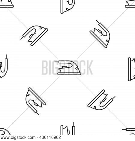Grey Line Electric Iron Icon Isolated Seamless Pattern On White Background. Steam Iron. Vector