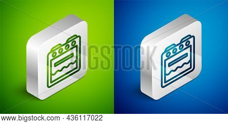 Isometric Line Oven Icon Isolated On Green And Blue Background. Stove Gas Oven Sign. Silver Square B