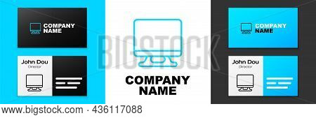 Blue Line Smart Tv Icon Isolated On White Background. Television Sign. Logo Design Template Element.