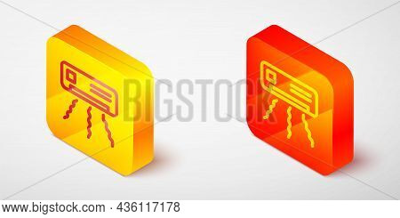 Isometric Line Air Conditioner Icon Isolated On Grey Background. Split System Air Conditioning. Cool