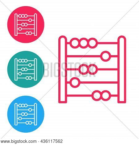 Red Line Abacus Icon Isolated On White Background. Traditional Counting Frame. Education Sign. Mathe