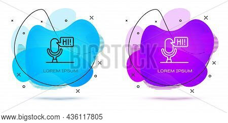 Line Microphone Voice Device Icon Isolated On White Background. Microphone Interpreter And Alphabet