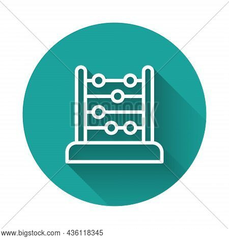 White Line Abacus Icon Isolated With Long Shadow Background. Traditional Counting Frame. Education S