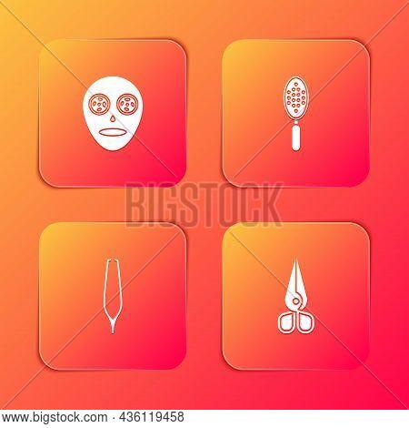 Set Facial Cosmetic Mask, Hairbrush, Eyebrow Tweezers And Scissors Icon. Vector