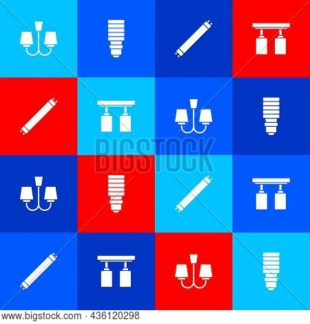 Set Chandelier, Led Light Bulb, Fluorescent Lamp And Led Track Lights Lamps Icon. Vector